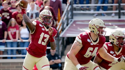 <p>               Boston College quarterback Anthony Brown (13) looks to pass as Ben Petrula (64) and AJ Dillon (2) block during the first half of an NCAA college football game, Saturday, Sept. 7, 2019, in Boston. (AP Photo/Mary Schwalm)             </p>