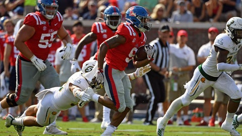 <p>               Mississippi running back Jerrion Ealy (9) runs the ball past Southeastern Louisiana linebacker Alexis Ramos (30) during the first half of an NCAA college football game in Oxford, Miss., Saturday, Sept. 14, 2019. (AP Photo/Thomas Graning)             </p>