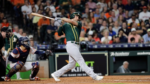 <p>               Oakland Athletics' Matt Olson, right, hits a two-run home run as Houston Astros catcher Robinson Chirinos reaches for the pitch during the third inning of a baseball game Tuesday, Sept. 10, 2019, in Houston. (AP Photo/David J. Phillip)             </p>