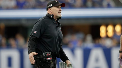 <p>               Atlanta Falcons head coach Dan Quinn shouts during the first half of an NFL football game against the Indianapolis Colts, Sunday, Sept. 22, 2019, in Indianapolis. (AP Photo/Michael Conroy)             </p>
