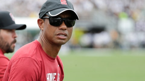 <p>               PGA golfer tiger Woods watches the first half of an NCAA college football game between Central Florida and Stanford, Saturday, Sept. 14, 2019, in Orlando, Fla. (AP Photo/John Raoux)             </p>