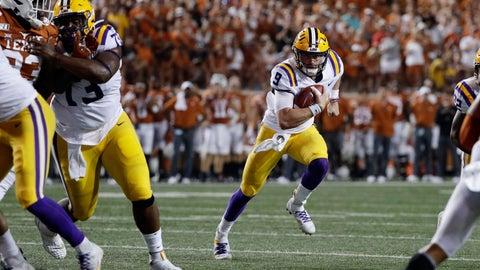 <p>               LSU quarterback Joe Burrow (9) runs against Texas during the first half of an NCAA college football game Saturday, Sept. 7, 2019, in Austin, Texas. (AP Photo/Eric Gay)             </p>