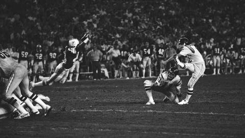 <p>               FILE - In this Jan. 2, 1982, file photo, San Diego Chargers' Rolf Benirschke (6), right, kicks the game-winning field goal in overtime of an NFL football AFC playoff game, against the Miami Dolphins, in Miami, Fla.  Ed Luther holds the ball. The Chargers won 41-38. Decades later, Rolf Benirschke still gets emotional talking about his second chances. (AP Photo/File)             </p>
