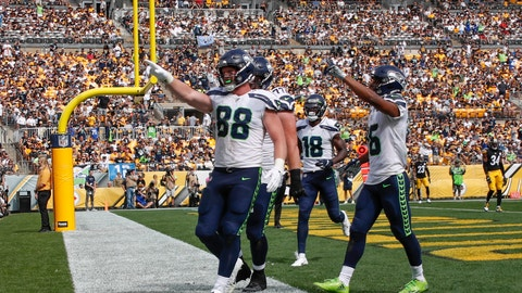 <p>               Seattle Seahawks tight end Will Dissly (88) celebrates with teammates after making a touchdown catch against the Pittsburgh Steelers in the second half of an NFL football game Sunday, Sept. 15, 2019, in Pittsburgh. (AP Photo/Don Wright)             </p>