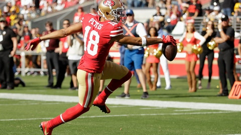 <p>               San Francisco 49ers wide receiver Dante Pettis (18) scores against the Pittsburgh Steelers during the second half of an NFL football game in Santa Clara, Calif., Sunday, Sept. 22, 2019. (AP Photo/Ben Margot)             </p>