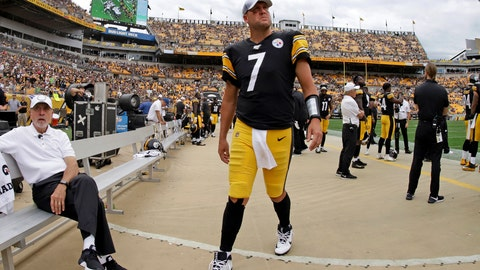 <p>               Pittsburgh Steelers quarterback Ben Roethlisberger (7) walks off the field as time runs out in a loss to the Seattle Seahawks in an NFL football game in Pittsburgh, Sunday, Sept. 15, 2019. Roethlisberger's season is over. The Pittsburgh Steelers quarterback will undergo surgery on his right elbow and be placed on injured reserve, ending the 37-year-old's 16th season just two weeks in. Roethlisberger injured the arm late in the second quarter of Sunday's 28-26 loss to Seattle. (AP Photo/Gene J. Puskar)             </p>