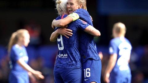 <p>               Chelsea's Bethany England, left, celebrates scoring against Tottenham Hotspur with teammate Magdalena Eriksson during the Women's Super League soccer match at Stamford Bridge, London, Sunday Sept. 8, 2019. (John Walton/PA via AP)             </p>