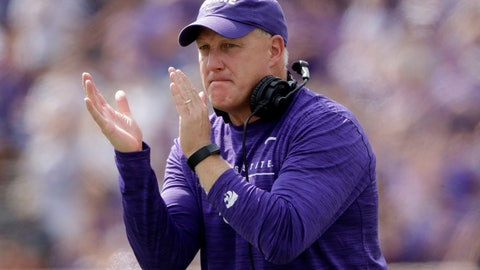 <p>               Kansas State head coach Chris Klieman cheers on his players during the first half of an NCAA college football game against Bowling Green Saturday, Sept. 7, 2019, in Manhattan, Kan. (AP Photo/Charlie Riedel)             </p>