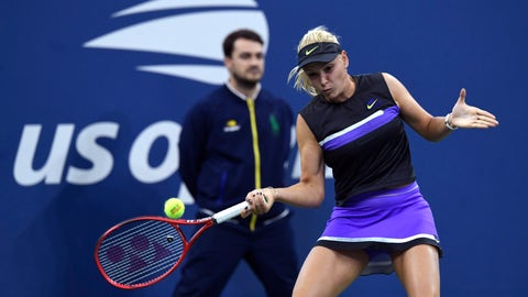 <p>               Donna Vekic, of Croatia, returns to Julia Goerges, of Germany, during the fourth round of the US Open tennis championships Monday, Sept. 2, 2019, in New York. (AP Photo/Sarah Stier)             </p>