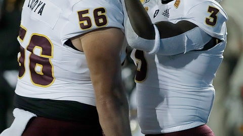 <p>               Arizona State's Eno Benjamin, right, celebrates with Alex Losoya (56) after scoring a touchdown against California in the first half of an NCAA college football game, Friday, Sept. 27, 2019, in Berkeley, Calif. (AP Photo/Ben Margot)             </p>