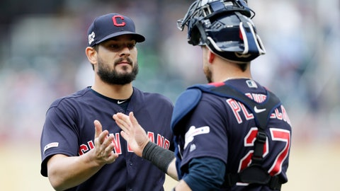 <p>               Cleveland Indians pitcher Brad Hand is congratulated by Indians catcher Kevin Plawecki (27) after the Indians defeated the Minnesota Twins 5-2 during a baseball game Sunday, Sept. 8, 2019 in Minneapolis. (AP Photo/Andy Clayton-King)             </p>