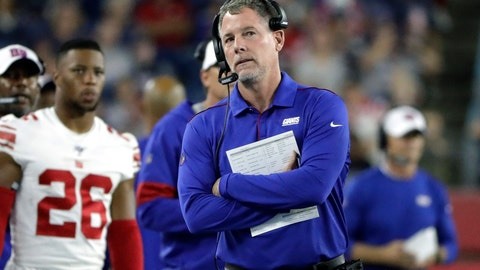 <p>               New York Giants head coach Pat Shurmur watches from the sideline in the first half of an NFL preseason football game against the New England Patriots, Thursday, Aug. 29, 2019, in Foxborough, Mass. (AP Photo/Steven Senne)             </p>