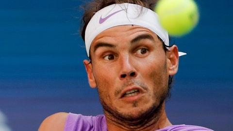 <p>               Rafael Nadal, of Spain, returns a shot to Hyeon Chung, of South Korea, during round three of the US Open tennis championships Saturday, Aug. 31, 2019, in New York. (AP Photo/Eduardo Munoz Alvarez)             </p>