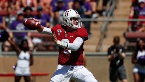 <p>               Stanford quarterback K.J. Costello (3) throws a pass against Northwestern in the second quarter of an NCAA college football game in Stanford, Calif., Saturday, Aug. 31, 2019. (AP Photo/Josie Lepe)             </p>