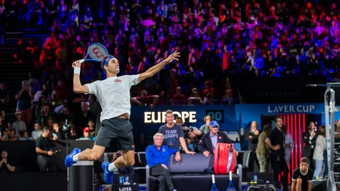 <p>               Team Europe's Roger Federer returns a ball during a training session for the Laver Cup in Geneva, Switzerland, Thursday, Sept. 19, 2019. The competition will pit a team of the best six European players against the top six from the rest of the world. The Laver Cup edition is scheduled for Sept. 20-22, 2019 at the Palexpo in Geneva. The Cup is named after the Australian tennis legend Rod Laver. (KEYSTONE/Martial Trezzini)             </p>