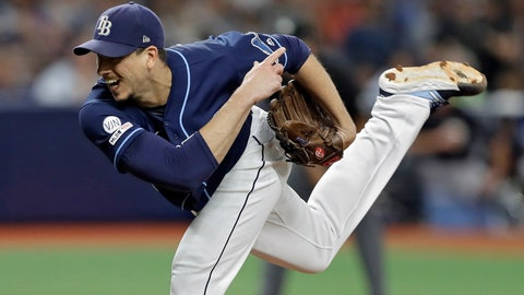 <p>               Tampa Bay Rays' Charlie Morton follows through on a pitch to a New York Yankees batter during the fourth inning of a baseball game Wednesday, Sept. 25, 2019, in St. Petersburg, Fla. (AP Photo/Chris O'Meara)             </p>