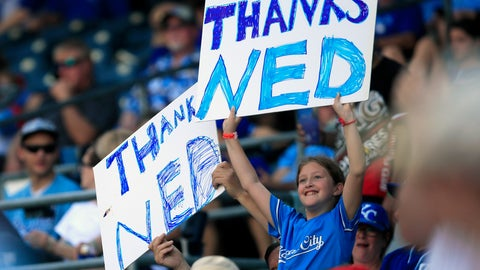 <p>               Fans hold signs honoring Kansas City Royals manager Ned Yost during the sixth inning of a baseball game against the Minnesota Twins at Kauffman Stadium in Kansas City, Mo., Sunday, Sept. 29, 2019. (AP Photo/Orlin Wagner)             </p>
