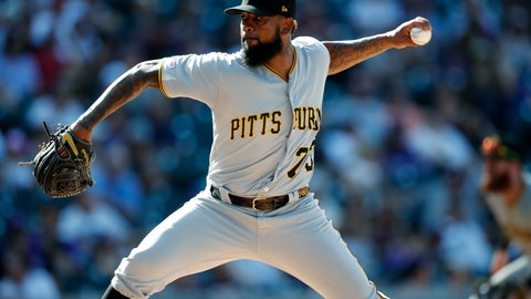 <p>               FILE - In this Sept. 1, 2019, file photo, Pittsburgh Pirates pitcher Felipe Vazquez works against the Colorado Rockies in the ninth inning of a baseball game in Denver. Pirates All-Star closer Felipe Vazquez has been arrested on charges of pornography and soliciting a child. Vazquez was taken into custody Tuesday morning, Sept. 17, 2019, by Pennsylvania State Police on one count of computer pornography/solicitation of a child and one count of providing obscene material to minors. (AP Photo/David Zalubowski, File)             </p>