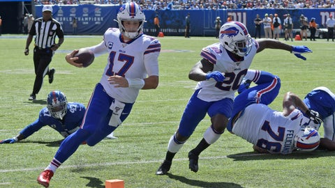 <p>               Buffalo Bills quarterback Josh Allen (17), left, runs the ball for a touchdown during the first half of an NFL football game against the New York Giants, Sunday, Sept. 15, 2019, in East Rutherford, N.J. (AP Photo/Bill Kostroun)             </p>