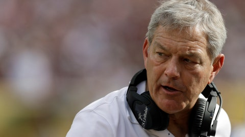 <p>               FILE - In this Jan. 1, 2019, file photo, Iowa head coach Kirk Ferentz looks on during the second half of the Outback Bowl NCAA college football game against Mississippi State, in Tampa, Fla. For the first time in school history, No. 20 Iowa will open a season with a home game at night. Miami (Ohio) at Iowa on Saturday night, Aug. 31. (AP Photo/Chris O'Meara, File)             </p>
