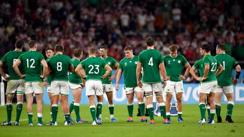 <p>               Ireland's players react after their 19-12 loss to Japan during the Rugby World Cup Pool A game at Shizuoka Stadium Ecopa between Japan and Ireland in Shizuoka, Japan, Saturday, Sept. 28, 2019. (Naoya Osato/Kyodo News via AP)             </p>