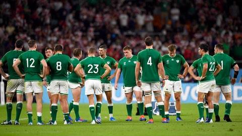 <p>               Ireland's players react after their 19-12 loss to Japan during the Rugby World Cup Pool A game at Shizuoka Stadium Ecopa between Japan and Ireland in Shizuoka, Japan, Saturday, Sept. 28, 2019. (Naoya Osato/Kyodo News via AP)             </p>