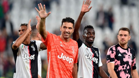 <p>               Juventus' goalkeeper Gianluigi Buffon salutes supporters at the end of the Italian Serie A soccer match between Juventus and Verona at the Juventus' Stadium in Turin, Italy, Saturday, Sept. 21, 2019. (Alessandro Di Marco/ANSA via AP)             </p>