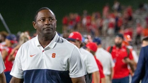 <p>               Syracuse coach Dino Babers looks at the scoreboard after the team's win over Liberty during an NCAA college football game in Lynchburg, Va., Saturday, Aug. 31, 2019. (AP Photo/Matt Bell)             </p>