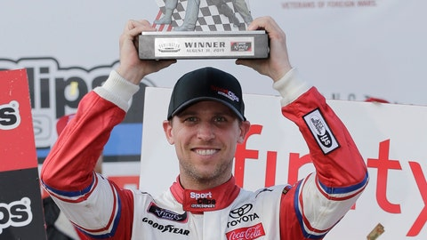 <p>               ADD HAMLIN STRIPPED OF WIN - Denny Hamlin holds up his trophy in Victory Lane after winning a NASCAR Xfinity Series auto race on Saturday, Aug. 31, 2019, at Darlington Raceway in Darlington, S.C. Hamlin was stripped of his win after he failed post-race inspection. Cole Custer was declared the winner. (AP Photo/Terry Renna)             </p>