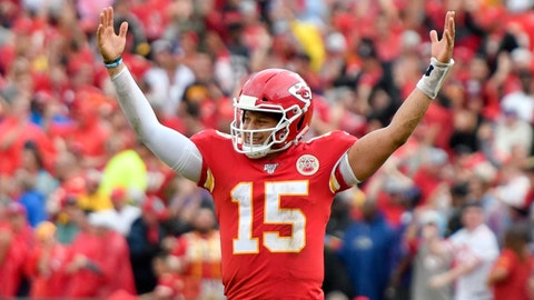 <p>               Kansas City Chiefs quarterback Patrick Mahomes (15) celebrates a touchdown by running back Darwin Thompson during the second half of an NFL football game against the Baltimore Ravens in Kansas City, Mo., Sunday, Sept. 22, 2019. (AP Photo/Ed Zurga)             </p>