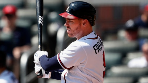 <p>               Atlanta Braves first baseman Freddie Freeman (5) drives in two runs with a base hit in the fifth inning of a baseball game against the Philadelphia Phillies Thursday, Sept. 19, 2019, in Atlanta. (AP Photo/John Bazemore)             </p>