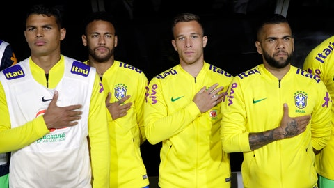 <p>               Brazil players listen to their national anthem before an international friendly soccer match against Peru on Tuesday, Sept. 10, 2019, in Los Angeles. (AP Photo/Marcio Jose Sanchez)             </p>