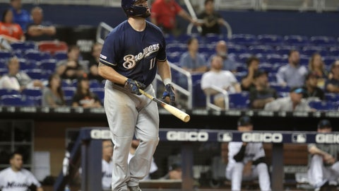 <p>               Milwaukee Brewers' Mike Moustakas (11) watches after hitting a two run home run during the ninth inning of a baseball game against the Miami Marlins, Wednesday, Sept. 11, 2019, in Miami. The Brewers won 7-5. (AP Photo/Lynne Sladky)             </p>