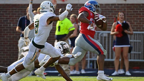 <p>               CORRECTS TO SECOND HALF - Mississippi running back Scottie Phillips (22) runs past Southeastern Louisiana defensive backs Dejion Lynch (6) and Donniel Ward-Magee (8) for a 27-yard touchdown during the second half of an NCAA college football game in Oxford, Miss., Saturday, Sept. 14, 2019. Mississippi won 40-29. (AP Photo/Thomas Graning)             </p>