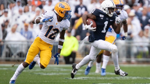 <p>               Penn State wide receiver KJ Hamler (1) breaks away from Pittsburgh defensive back Paris Ford (12) in the first half of an NCAA college football game in State College, Pa., on Saturday, Sept. 14, 2019. (AP Photo/Barry Reeger)             </p>