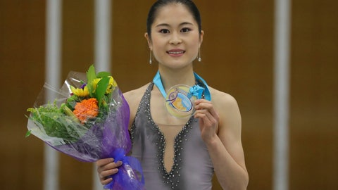 <p>               First-place finisher Satoko Miyahara, of Japan, celebrates on the podium following the women's free skate at the U.S. International Figure Skating Classic on Saturday, Sept. 21, 2019, in Salt Lake City. (AP Photo/Rick Bowmer)             </p>