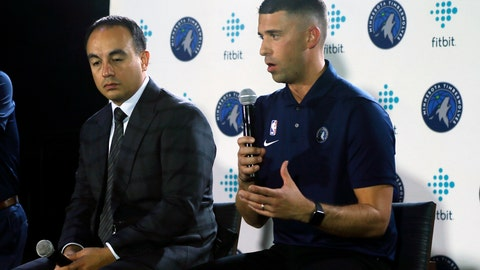 <p>               Minnesota Timberwolves head coach Ryan Saunders, right, addresses the media as Timberwolves President Gersson Rosas listens during the NBA basketball team's media day Monday, Sept. 30, 2019, in Minneapolis. (AP Photo/Jim Mone)             </p>