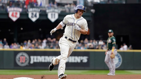 <p>               Seattle Mariners' Kyle Seager rounds the bases on his two-run home run against the Oakland Athletics in the first inning of a baseball game Sunday, Sept. 29, 2019, in Seattle. (AP Photo/Elaine Thompson)             </p>