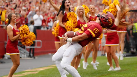<p>               Iowa State quarterback Brock Purdy celebrates after scoring a touchdown at the end of regulation that was called back for holding during the second half of an NCAA college football game, Saturday, Aug. 31, 2019, in Ames. Iowa State won 29-26 in triple overtime. (AP Photo/Matthew Putney)             </p>