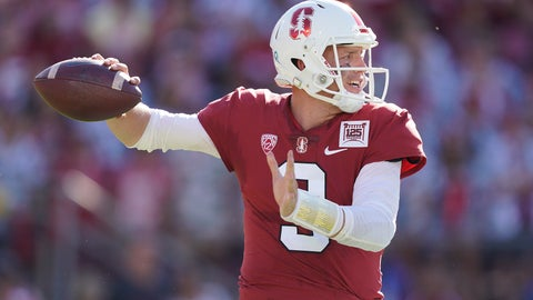 <p>               Stanford quarterback K.J. Costello (3) throws against Oregon during the first half of an NCAA college football game on Saturday, Sept. 21, 2019, in Stanford, Calif. (AP Photo/Tony Avelar)             </p>