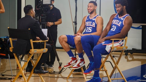 <p>               Philadelphia 76ers' Ben Simmons, left, and Joel Embiid, right, conduct interviews during media day at the NBA basketball team's practice facility, Monday, Sept. 30, 2019, in Camden. (AP Photo/Chris Szagola)             </p>