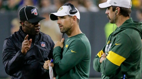<p>               Green Bay Packers' Aaron Rodgers watches as head coach Matt LaFleur talks to an official during the first half of a preseason NFL football game against the Kansas City Chiefs Thursday, Aug. 29, 2019, in Green Bay, Wis. (AP Photo/Mike Roemer)             </p>