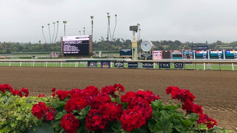 <p>               Flowers frame a new infield video board and the finish line ahead of opening day of the fall meeting at Santa Anita Park in Arcadia, Calif., Friday, Sept. 27, 2019. Horse racing has returned to Santa Anita with the opening of its fall meet amid intense scrutiny after the deaths of 31 horses at the historic track earlier in the year. There were no incidents during morning training hours or through the first three races Friday. The nine-race card includes three graded stakes races, with two of those winners earning automatic berths in the Breeders' Cup this fall at Santa Anita. (AP Photo/Beth Harris)             </p>