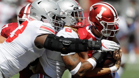 <p>               Indiana quarterback Peyton Ramsey (12) is sacked by Ohio State defensive end Chase Young (2) and defensive tackle Davon Hamilton (53) during the first half of an NCAA college football game, Saturday, Sept. 14, 2019, in Bloomington, Ind. (AP Photo/Darron Cummings)             </p>
