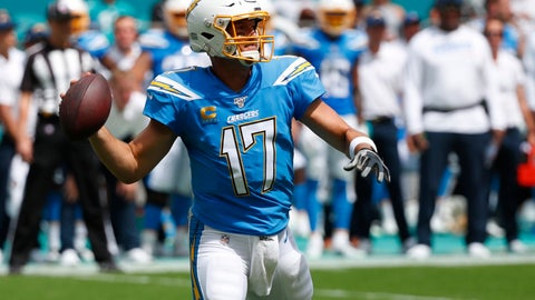 <p>               Los Angeles Chargers quarterback Philip Rivers (17) looks to pass the ball, during the first half at an NFL football game against the Miami Dolphins, Sunday, Sept. 29, 2019, in Miami Gardens, Fla. AP Photo/Wilfredo Lee)             </p>