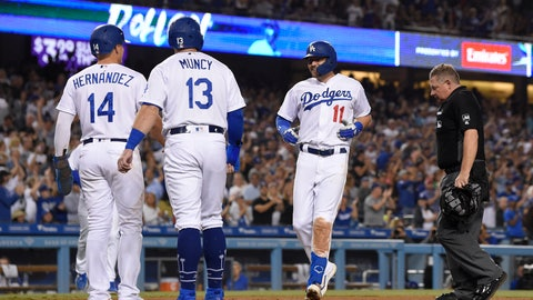 <p>               Los Angeles Dodgers' A.J. Pollock scores after hitting a three-run home run against the Colorado Rockies, as Enrique Hernandez, left, and Max Muncy, second from left, wait for him while home plate umpire Greg Gibson stands at the plate during the fourth inning of a baseball game Friday, Sept. 20, 2019, in Los Angeles. (AP Photo/Mark J. Terrill)             </p>