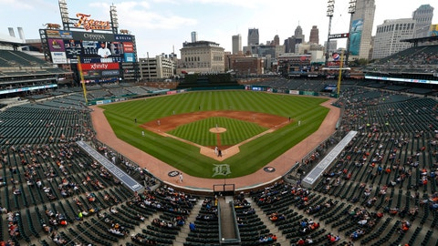 <p>               Fans watch at Comerica Park watch the fifth inning of a baseball game between the Detroit Tigers and the Baltimore Orioles in Detroit, Monday, Sept. 16, 2019. (AP Photo/Paul Sancya)             </p>