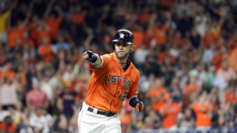 <p>               Houston Astros' Josh Reddick points to the dugout after hitting a home run against the Seattle Mariners during the fourth inning of a baseball game Friday, Sept. 6, 2019, in Houston. (AP Photo/David J. Phillip)             </p>