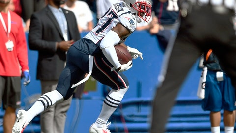 <p>               New England Patriots defensive back J.C. Jackson carries the ball after intercepting a pass by Buffalo Bills quarterback Josh Allen in the first half of an NFL football game, Sunday, Sept. 29, 2019, in Orchard Park, N.Y. (AP Photo/Adrian Kraus)             </p>