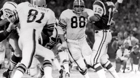 <p>               FILE - In this Sept. 21, 1970, file photo, Cleveland Browns defensive ends Jack Gregory (81) and Ron Snidow (88) blast through the New York Jets protection  to pressure quarterback Joe Namath in the second quarter of their game in Cleveland, Ohio. As part of its celebration of its 100th season, the NFL is designating a Game of the Week, each chosen to highlight a classic matchup. For Week 2, it is the Monday night game between the Browns and Jets. (AP Photo/File)             </p>